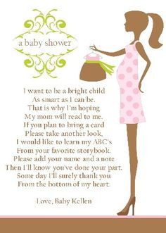 Baby Shower Poem Insert Card A Book is a treasure 6x4 - DIY Print Your ...