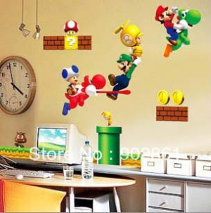 funlife]-Super Mario bros Boy Room Kids Room Nursery Art Decal Mural ...