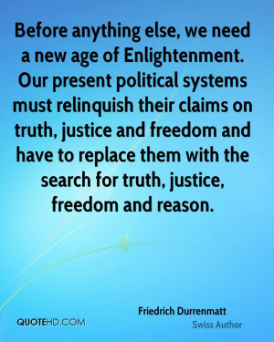 Before anything else, we need a new age of Enlightenment. Our present ...