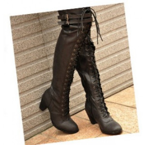 2011 Fashion Winter Women Knight Thick Heel Thigh-High Boots-Lacing ...