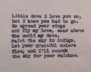 Sympathy Gift Little Dove Poem Loss of Child Baby Death of Daughter or ...