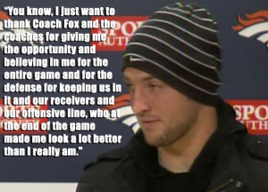 ... . It's quintessential leadership. It's quintessential Tebow