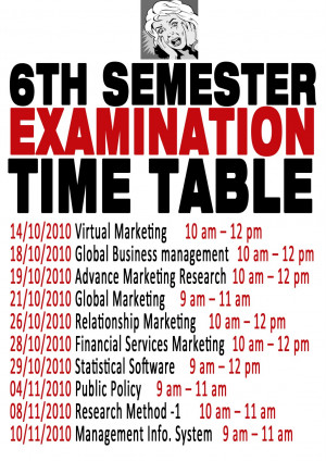 EXAM TIME TABLE (6th Semester)