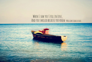 When I saw you I fell in love, and you smiled because you knew.