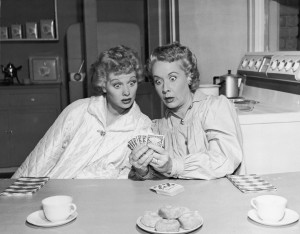 Lucille Ball as Lucy Ricardo and Vivian Vance as Ethel Mertz