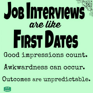to me being interviewed for a new a job is a lot like going out on a ...