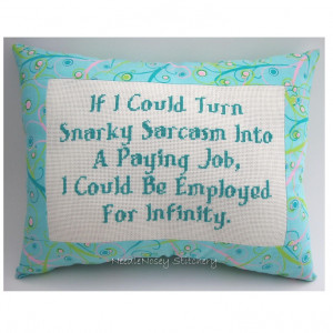 Oh, If only . . . Funny Cross Stitch Pillow, Funny Quote, Pink Aqua ...