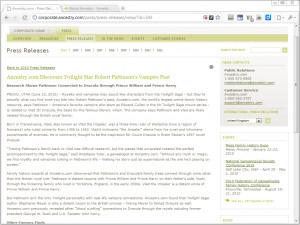 Ancestry.com Dracula press release