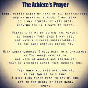 ... prayer....love it! Should be said before every game with the girls