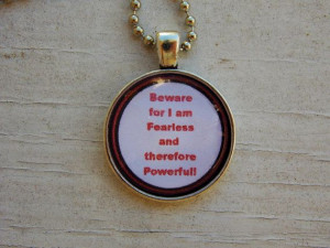 Frankenstein Quote Necklace. Beware For I Am Fearless. 18 Inch Ball ...
