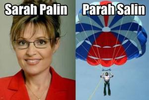 Sarah Palin Parasailing Pun Meme