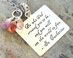 Graduation Gift, Insperational necklace, Saint quote, who God made you ...