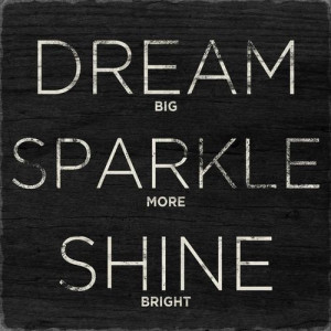 never stop dreaming sparkling or shining