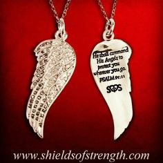 angel wing necklace with a biblical quote