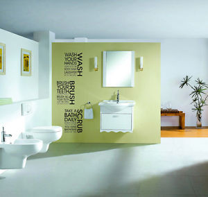 ... Wash-Scrub-Bathroom-Shower-Toilet-Art-Quote-Wall-Stickers-Wall-Decals
