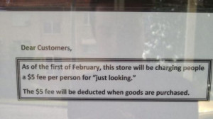 Store Charges Five-Dollar 'Just Looking' Fee to Prevent People From ...