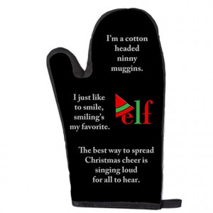Elf Quotes Black Oven Mitt