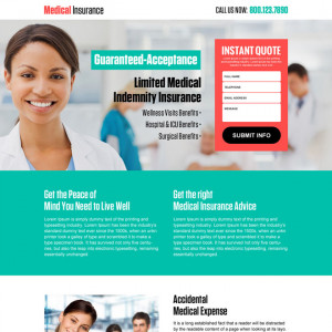 ... instant quote responsive landing page design Medical Insurance example