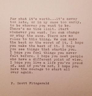 Scott Fitzgerald Hand Typed Quote Made On Typewriter
