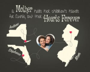 Distance, Mothers Day Idea for Mother, Personalized Map Print, Family ...