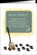 Thank You, School Janitor, Broom Sweeping Up Student Footprints card ...