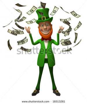 Rich irish leprechaun - stock photo