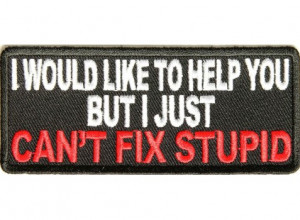Can't Fix Stupid Funny iron on Patch