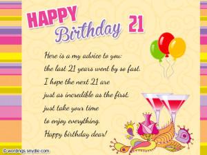 Happy 21 Birthday Quotes. QuotesGram