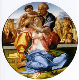 The Holy Family with the infant St. John the Baptist (the Doni Tondo)