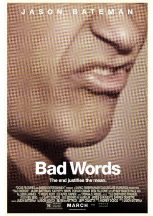 Bad word movie poster with wallpaper