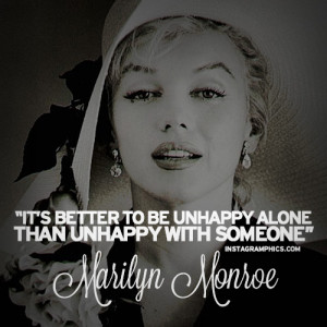 Being Happy Alone Marilyn Monroe Quote Graphic