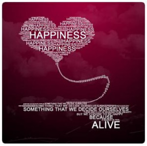 Happiness Motivational Poster in red with white wording shaped in a ...