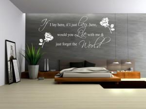 ... Wall Quote Bedroom Vinyl Wall Decals Wedding Love Romantic (Black
