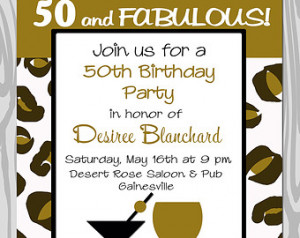 Milestone birthday party invitation - 50 and Fabulous - 50th Birthday ...
