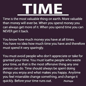 Time is money.....