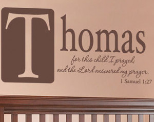 Boys Room Wall Quote Personalized With Name - For This Child I Prayed ...