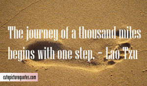 The journey of a thousand miles begins with one step. ~ Lao Tzu Quotes