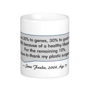 Jane Fonda Quote Looking good plastic surgeon Coffee Mugs
