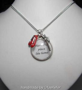 Dorothy-Wizard-of-Oz-inspired-necklace-red-shoes-wand-quote-no-place ...