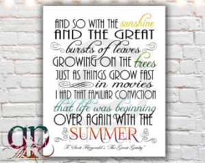 great gatsby quote print, printable art, digital download, great ...