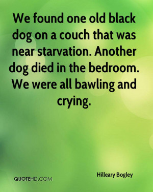 We Found One Old Black Dog On A Couch That Was Near Starvation.