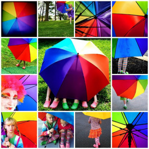 Happy Life Under The Rainbow Umbrella Mosaic With Rainbow Quotes photo ...