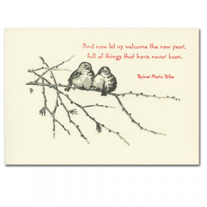 ... hand typeset birds on branch with Rainer Maria Rilke quote