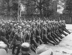 German troops parade through Warsaw after the invasion of Poland ...