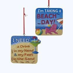 ... Party Square Sun and Sand Signs with Sayings Christmas Ornaments 3