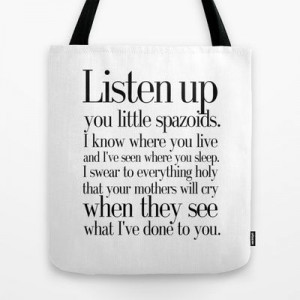 Tommy Boy quote Tote Bag by Art Lahr - $22.00