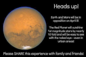 up! Earth and Mars will be in opposition on April 8! The red planet ...
