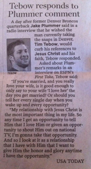 Tim Tebow on his faith in Jesus Christ