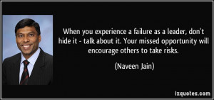 When you experience a failure as a leader, don't hide it - talk about ...
