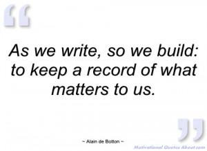 as we write alain de botton